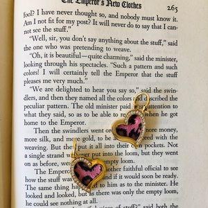 Betsey Johnson pink leopard print heart earrings